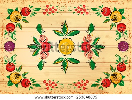 Vector folk background on wood texture. Russian style. Painting. Ethnic. Vector background.  - stock vector