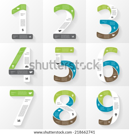 Vector font infographic, diagram, presentation. Numbers 1, 2, 3, 4, 5, 6, 7, 8, 9. Business concept with options, parts, steps or processes.  - stock vector