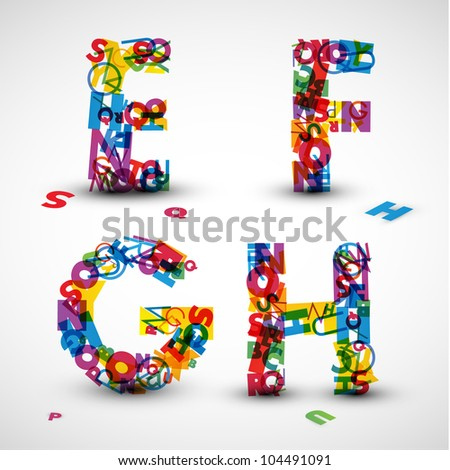 Letter Made Out Of Objects.Vector Font Made Blue Letters Alphabet Stock Vector 108511709