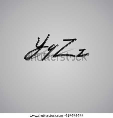 Vector Font made from latex. Glossy vintage alphabet with shadow from Y to Z - stock vector
