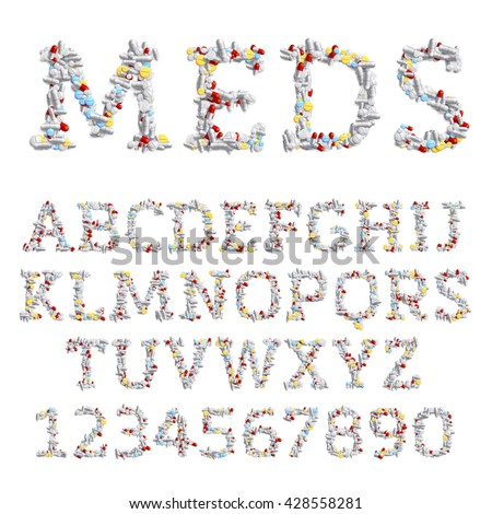 Vector font made of different drugs: pills and tablets. Medicine and pharmacology concept. Latin alphabet from A to Z and numbers from 0 to 9. - stock vector
