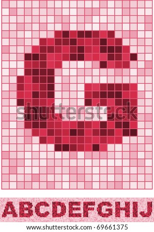Vector font made of truelike mosaic. A-J.