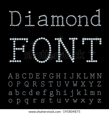 Vector font with diamonds. - stock vector