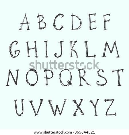 Vector fonts. A handwritten alphabet that was drawn with a pencil. Doodle fonts.