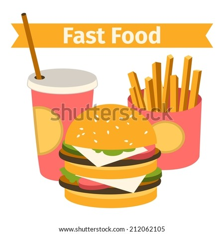 vector food and drink. Burger, fries. Flat. isolated vector illustration - stock vector