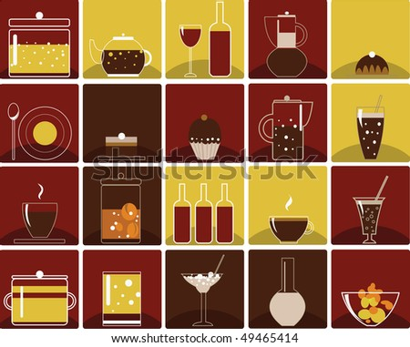 Vector food and drink icons - stock vector
