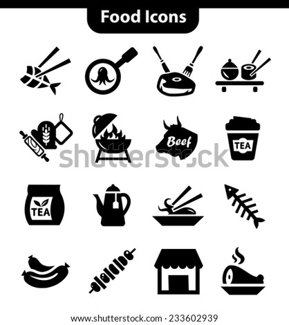 Vector Food and Meat Icons Set for web and mobile. - stock vector