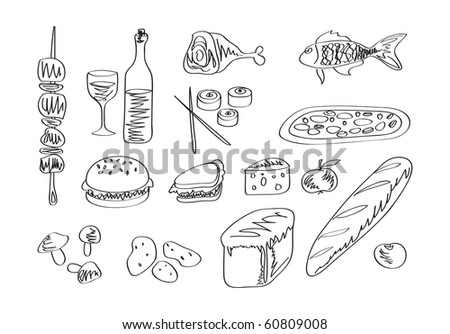 Vector food icon set. Hand draw
