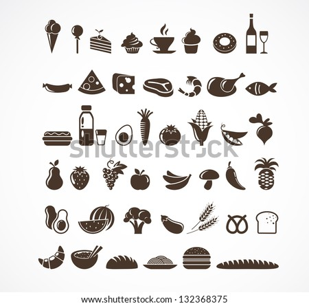 Vector food icons and elements - stock vector