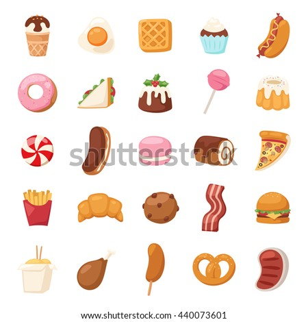Vector food icons and sweet fast food elements. Food icons restaurant bread dinner menu. Cake design food icons kitchen beverage dinner and sweet dessert rolls, croissants. Chinese fast food. - stock vector