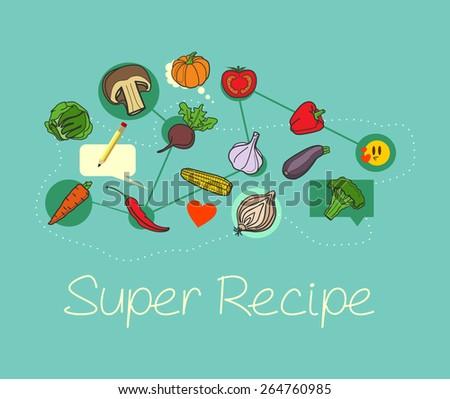 Vector food ingredients illustration - stock vector