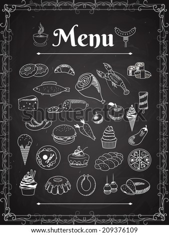 vector food menu elements on chalk board - stock vector