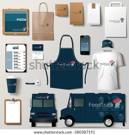 vector food truck corporate identity template stock vector 385284523 shutterstock. Black Bedroom Furniture Sets. Home Design Ideas