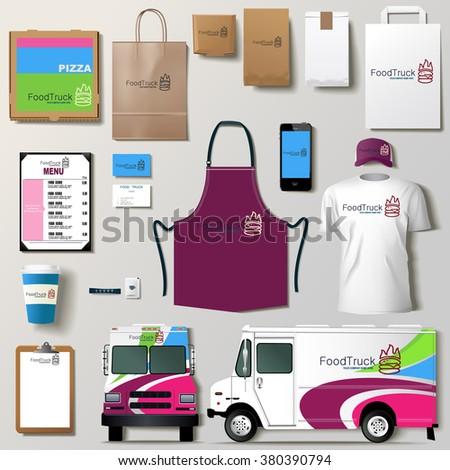 vector food truck corporate identity template stock vector 380390794 shutterstock. Black Bedroom Furniture Sets. Home Design Ideas