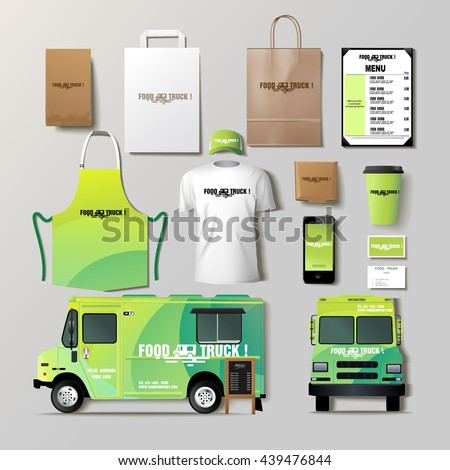 Vector food truck corporate identity template stock vector for Food truck design app