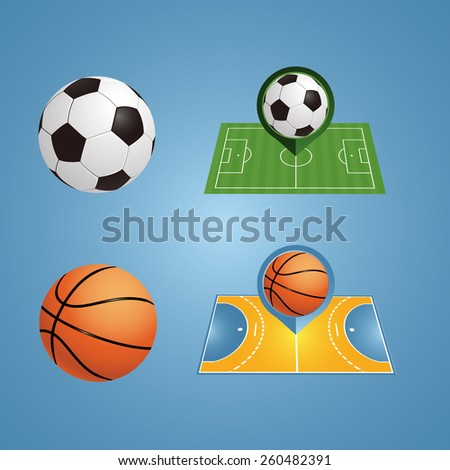 Vector football and basketball. Icon's field - stock vector