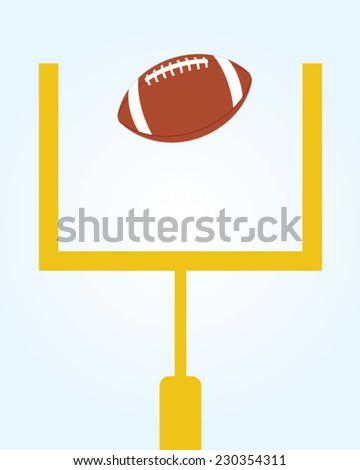 Vector Football and Field Goal Post Set  - stock vector