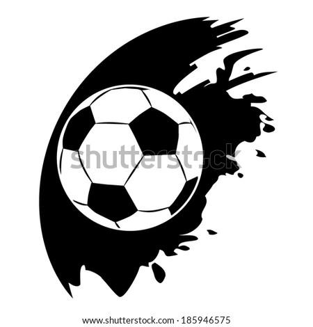 Vector football ball on black blob - stock vector
