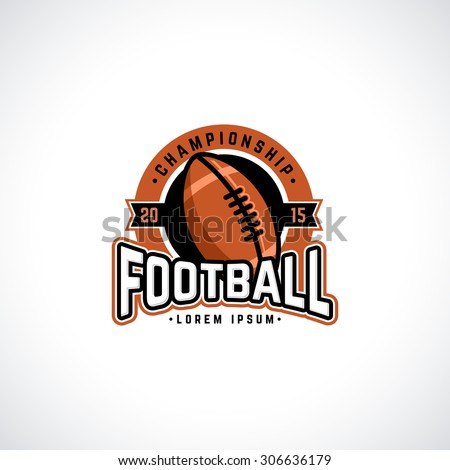 Vector football championship logo with ball. Sport badge for tournament or championship. - stock vector