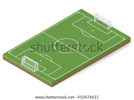Vector football field isometric. Soccer field isometric. Sport field isometric - stock vector