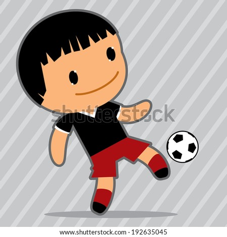 Vector football player. Kawaii style
