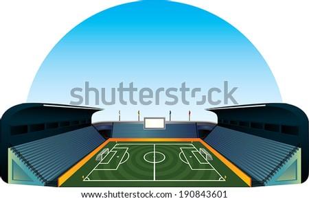 Vector football soccer field stadium illustration - stock vector