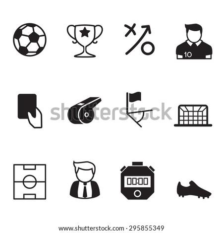 Vector football & soccer icons set - stock vector