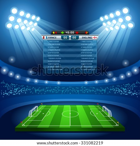 Vector Football Stadium Empty Field Background Nocturnal View - stock vector