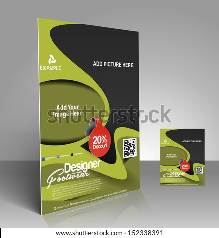Vector Footwear Flyer, Magazine Cover & Poster Template  - stock vector