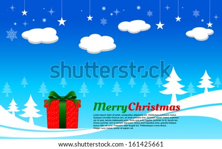 vector for present Christmas Season and for Graphic ornament./Merry Christmas bright blue sky.  - stock vector