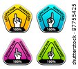 vector forefinger indicating the satisfaction guaranteed labels - stock vector