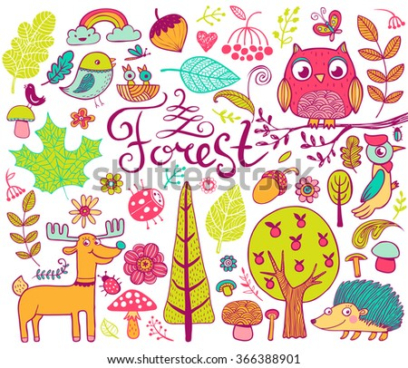 Vector forest design  elements in doodle style, hand-drawn animals and insects, trees and plants - stock vector