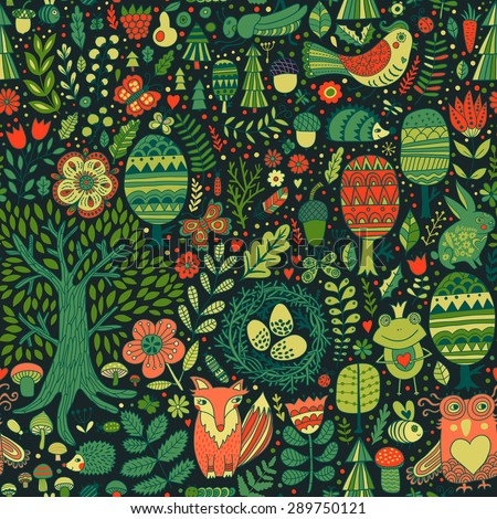 Vector forest design, floral seamless pattern with forest animals:  frog, fox, owl, rabbit, hedgehog. Vector background with butterflies,bugs, bees, trees and flowers in childish style.
