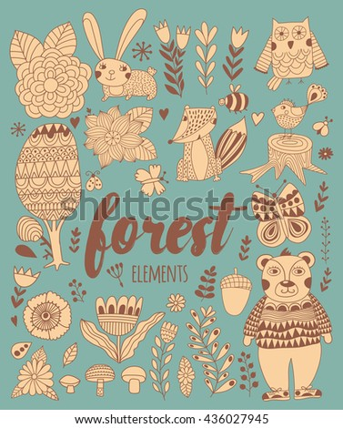 Vector forest elements in doodle childish style, handdrawn animals and insects, trees and plants.