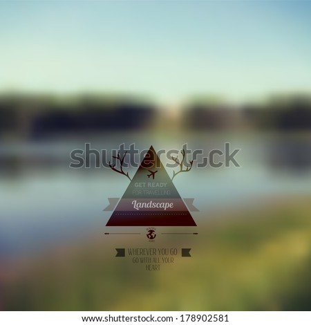 Vector forest landscape with triangle badge. Outdoor. Countryside nature with hipster badge. Forest. retro label design with deer horns. Retro backdrop. Blur. Fishing. Fishing Label - stock vector