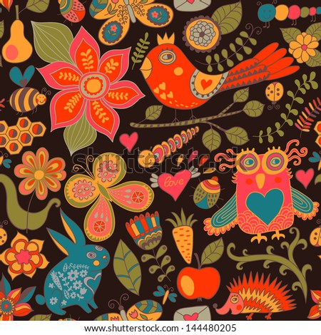 Vector forest seamless pattern. Floral background.Owl, rabbit, butterfly,  hedgehog. Use it as pattern fills, web page background, surface textures, fabric or paper, backdrop design. Summer template. - stock vector