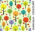 Vector forest seamless pattern with trees and mushrooms - stock vector