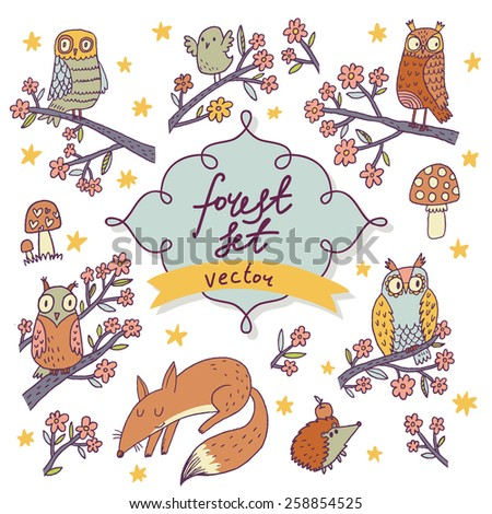 Vector forest set - stunning colorful cartoon set with owls, birds, fox, stars, hedgehog, flowers and mushrooms. Sweet childish background in vector - stock vector