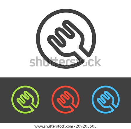 Vector fork icon set, line and flat design - stock vector