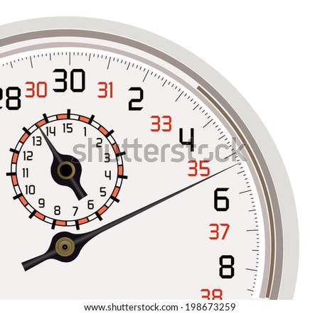 Vector format of analog stopwatch quarter cut out - stock vector