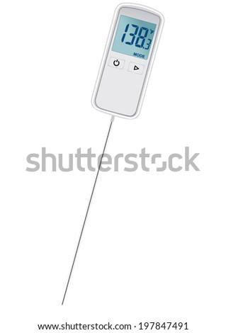 Vector format of small digital thermometer with penetrating probe - stock vector