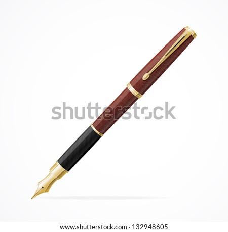 Vector Fountain pen isolated - stock vector