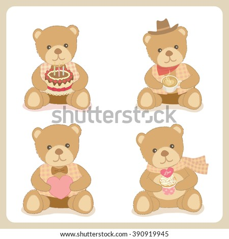 Vector four bears hold the birthday cake coffee the heart and cupcake.Isolated white background. - stock vector