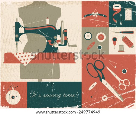 Vector four colored retro style wall art printable decorative poster on hand craft, sewing and stitching with vintage sewing machine and craft supplies. Old paper texture on separated layers.  - stock vector