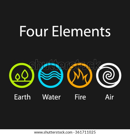 vector four natural elements symbols - stock vector
