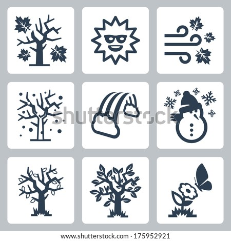 Vector four seasons icons set - stock vector
