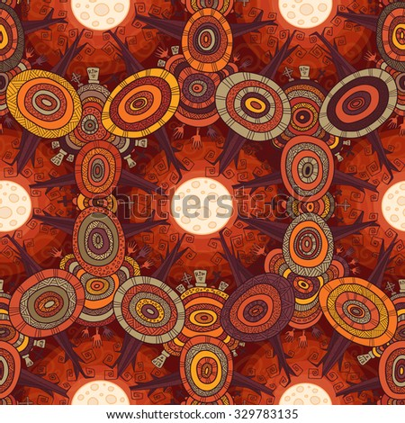 Vector fractal ethnic forest seamless pattern for halloween, with trees, zombies hands, tombstones and crosses on autumn cemetery. - stock vector
