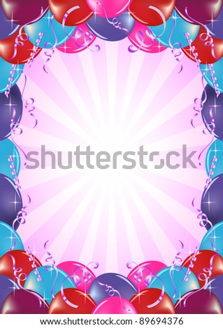 Vector frame background with balloons - stock vector
