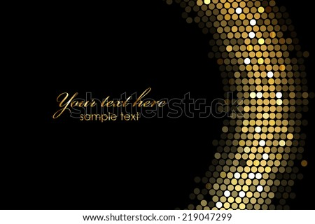 Vector frame background with gold lights - stock vector