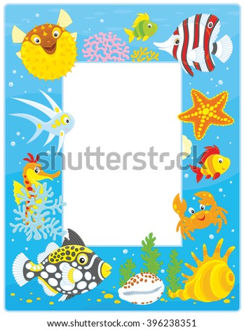Vector frame border with colorful tropical fishes, a crab, a starfish, a seahorse and shells